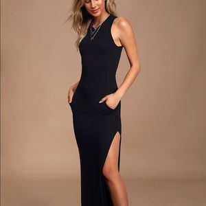 SHIELD AND SWORD BLACK SLEEVELESS MAXI DRESS